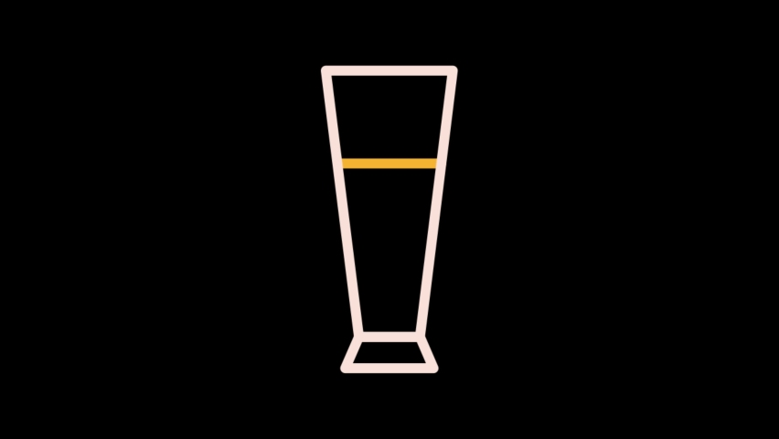 tall beer glass Animated line Icon.