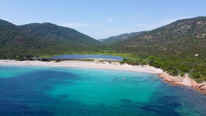 Aerial view on a beautiful beach in the north of Corsica