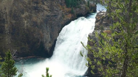 The Grand Canyon of Yellowstone National Park the upper waterfall