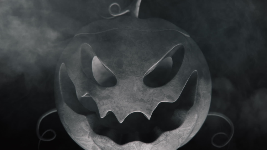 Animation of the appearance of a Halloween pumpkins from the darkness. Horror scene or Halloween decoration. | Shutterstock HD Video #1060710001