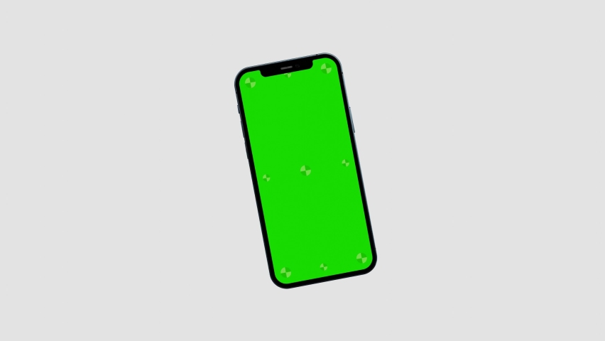 Cracow, Małopolskie / Poland - October 16 2020: 3d render of iPhone 12 Pro green screen with marks for tracking - phone rotations and movements including vertical and horizontal positions