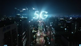 5G technology conсept in the city of the future. Beautiful aerial panorama of modern skyscrapers, streets and traffic all in glittering lights on the night.
