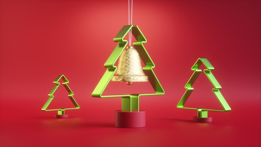 3d render, endless Christmas animation, festive pendulum isolated on red background. Swinging golden bell ornament, spinning green fir tree. Repeating beat. Seamless motion design. Live image