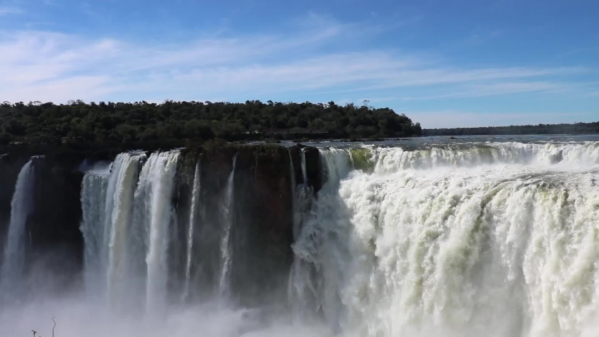 Close view of the Devil's Throat, Iguazu Waterfalls National Park, one of the seven natural wonders of the world. The power of water from a close look.