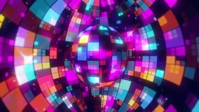 Disco Ball Screensaver seamless VJ loop animation for music broadcast TV, night clubs, music videos, LED screens and projectors, glamour and fashion events, jazz, pops, funky and disco party.