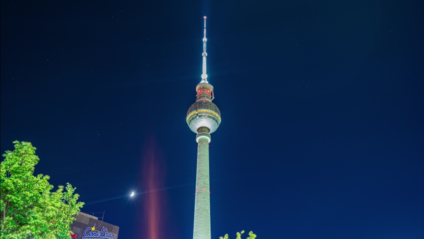 Time Lapse Of Stars Passing Over Berlin Tv Tower In Berlin Germany