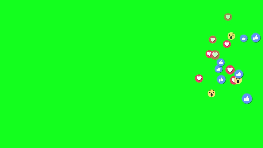 Social nets blue thumb up like and red heart Emoji, 4K 3D Black background and Green Screen Loop Animation.