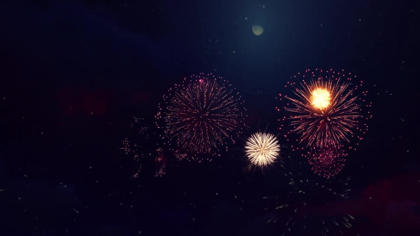 4K Real Fireworks Explosion on Smoke Foggy black Motion Background loop Sky on Fireworks Explosion. Festival Show, Wedding, Confetti, Happy Birthday, Christmas, Diwali, Christmas, Celebration,