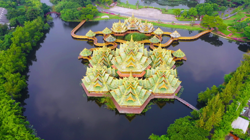 Aerial view the Pavilion of the Enlightenment in Ancient city Samut Prakan of Thailand | Shutterstock HD Video #1060756186