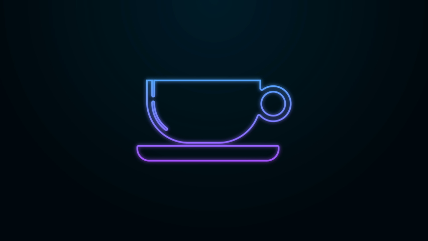 Glowing neon line Coffee cup icon isolated on black background. Tea cup. Hot drink coffee. 4K Video motion graphic animation | Shutterstock HD Video #1060765144