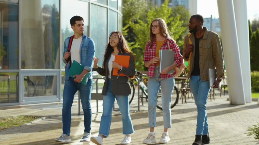 Four mixed-race young students walking on sunny street communicating sharing stories laughing enjoying funny company. Smart generation. Campus, university, education. Royalty-Free Stock Footage #1060767556