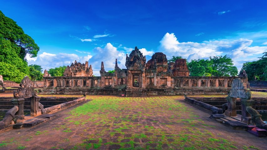 Time lapse of Prasat Muang Tam is a Khmer temple in Prakhon Chai district, Buri Ram Province, Thailand. | Shutterstock HD Video #1060768528