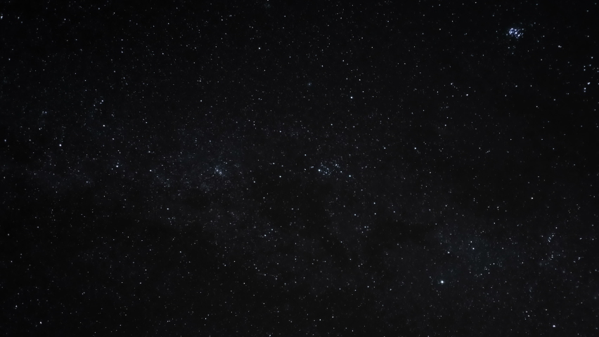 Starry constellations motion and rotating stars on winter night sky,universe outer space field 4k