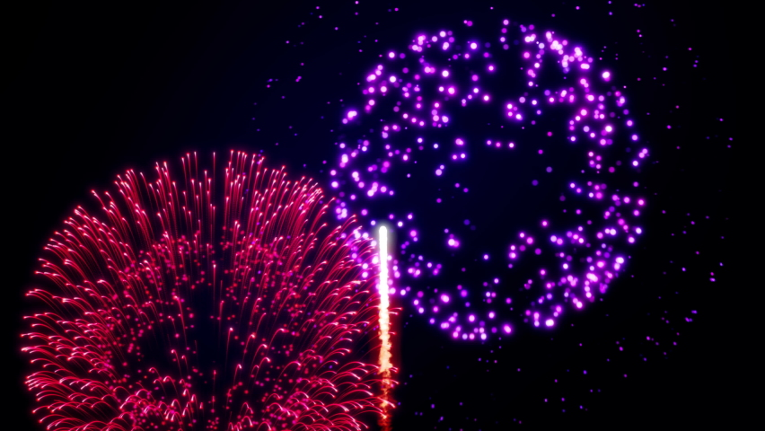 Animation of fireworks shining in the night sky. Looping animation. | Shutterstock HD Video #1060772470