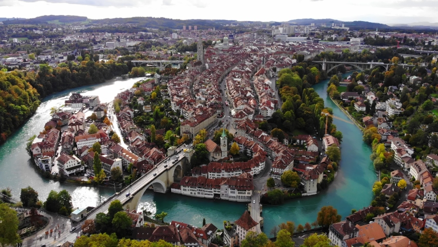 Aerial view over the city of Bern - the capital city of Switzerland - the historic district from above