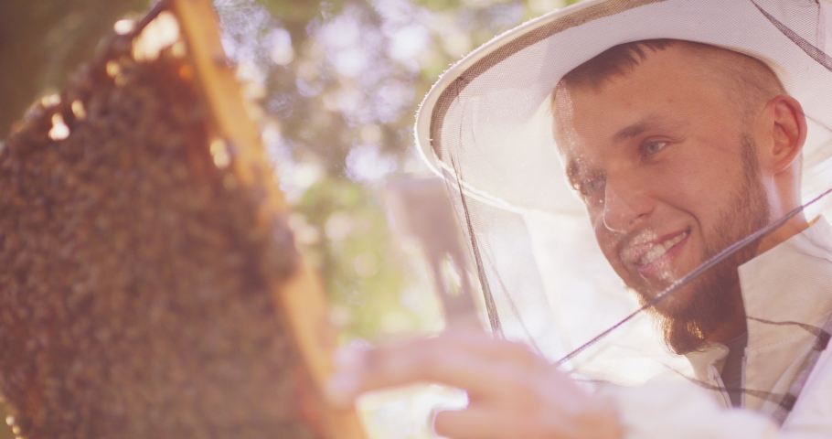 Face of a young male bearded beekeeper in white protective suit, with bee hive tool in hand, who holds in front of his face a behive frame with a lot of roaming bees, and honeycombs, and wax, and Royalty-Free Stock Footage #1060795165