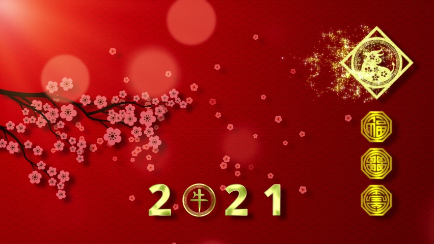 Chinese Lunar New Year 2021 year of the Ox with Chinese calligraphy meaning year of the Ox and good health, good fortune and happiness Royalty-Free Stock Footage #1060795474