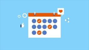 Social media marketing, scheduler, Schedule social media post, date, time to post on social media - conceptual 2d animation video clip
