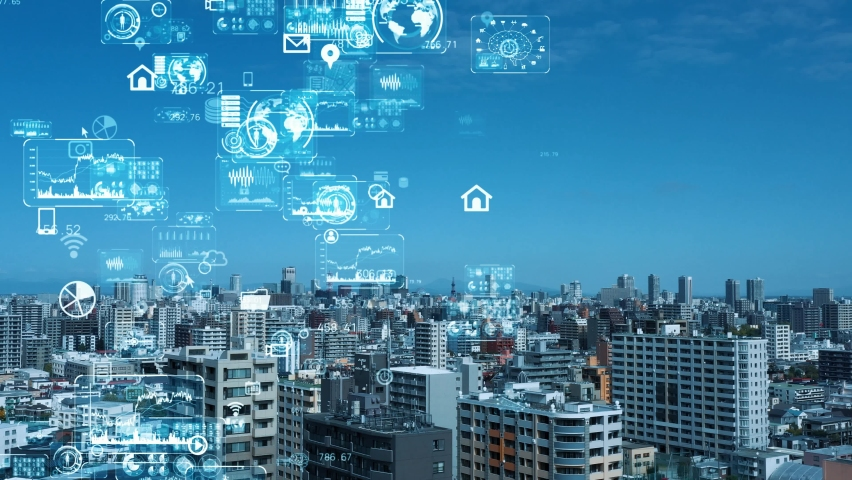 Smart city and communication network concept. 5G. IoT (Internet of Things). Telecommunication. | Shutterstock HD Video #1060799860