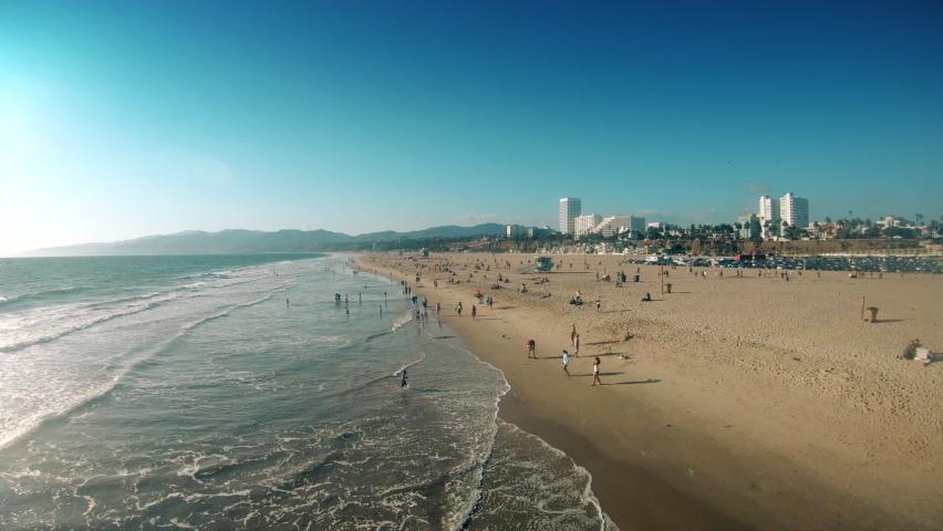 SANTA MONICA, CALIFORNIA, SEPTEMBER 29, 2019: View from the pier on Santa Monica. View from the Pacific Ocean on Santa Monica Beach, coast of Santa Monica on a bright sunny day
