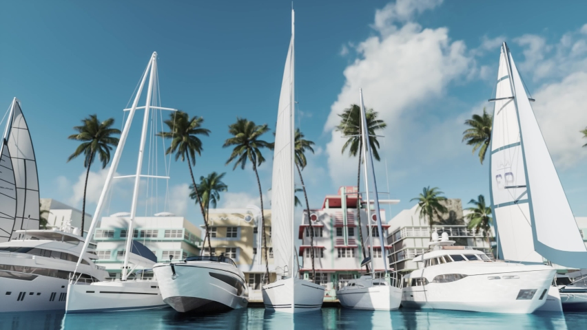 Docked luxury yacht Boat in a port. Yacht club with palm trees background | Shutterstock HD Video #1060843246