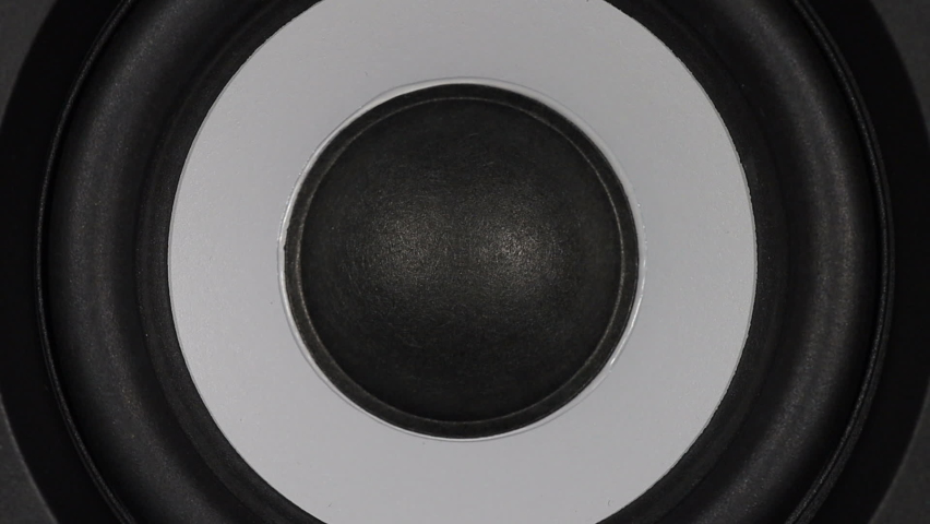 Black bass woofer. Modern speacker loud sound. Slow motion footage.  | Shutterstock HD Video #1060849402