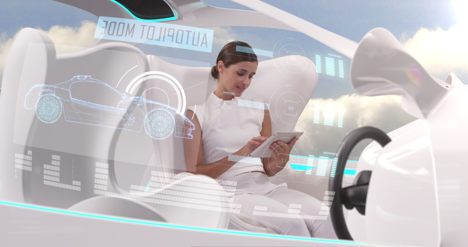 Animation of woman in car with white interiors using digital tablet in autopilot mode driving with clouds and blue sky. Futuristic engineering artificial intelligence concept digital composite.