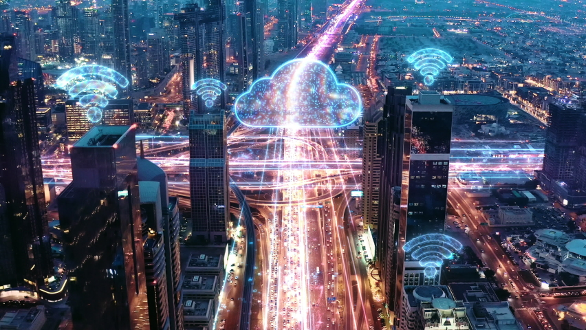 AI 5G Application Wifi Network Information Clouds Aerial Drone Flight During Rush Hour Night Traffic Digital World World Of Tomorrow 5g Network Drone Low Light 4k Royalty-Free Stock Footage #1060851898