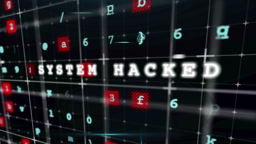 Animation of the words Malware, System Alert written on computer screen with digital interface on black background. Global online security cyber attack concept digitally generated image. Royalty-Free Stock Footage #1060853320