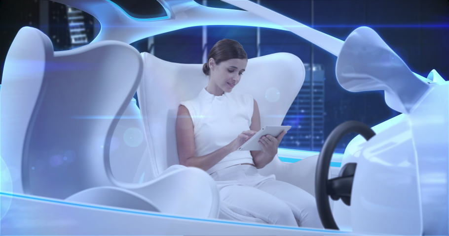 Animation of woman using digital tablet in car in autopilot mode driving across modern city. Futuristic engineering artificial intelligence concept digital composite.