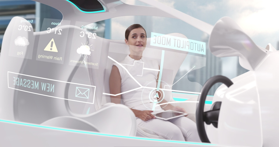 Animation of woman using digital tablet in car with white interiors in autopilot mode driving across city. Futuristic engineering artificial intelligence concept digital composite.
