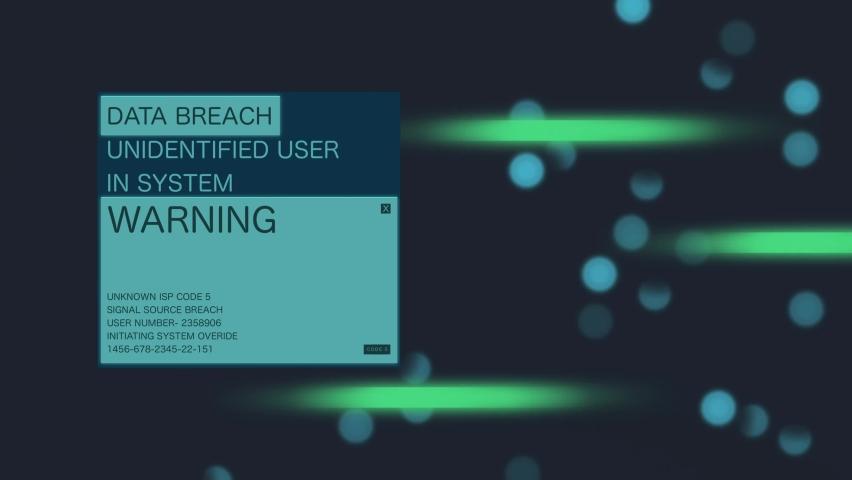 Data Breach warning  animation loop. Royalty-Free Stock Footage #1060863673