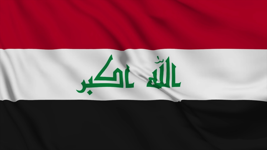 Waving flag loop. National flag of Iraq. Realistic animation