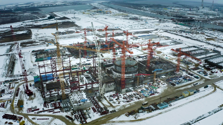Kursk nuclear power plant in the city of Kurchatov. Taken with a drone. Buildings of power units are clearly visible. Winter. Construction is underway.