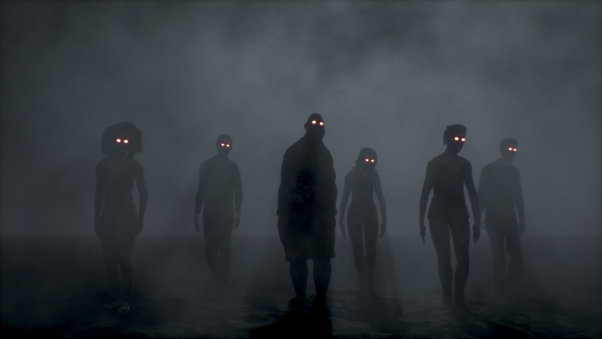 Group of scary zombies dancing. Halloween concept. | Shutterstock HD Video #1060874110