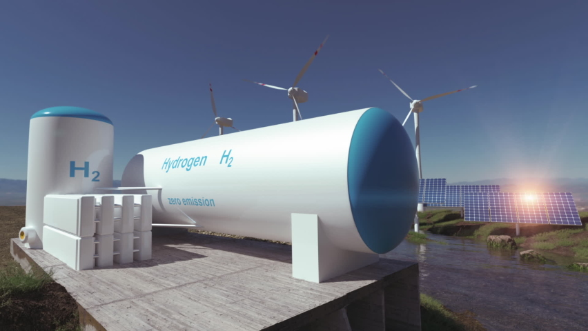 Hydrogen renewable energy production - hydrogen gas for clean electricity solar and windturbine facility. 3d rendering. Royalty-Free Stock Footage #1060879249
