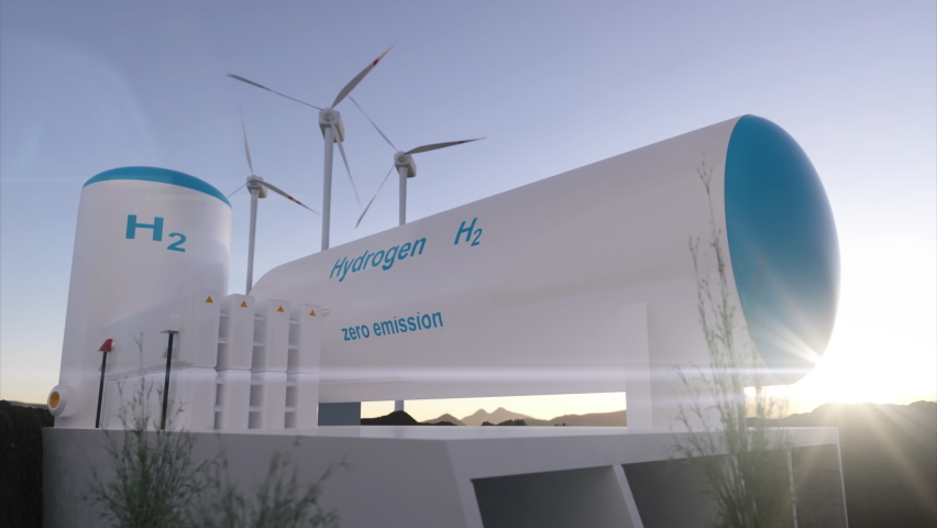 Hydrogen renewable energy production - hydrogen gas for clean electricity solar and windturbine facility. 3d rendering. Royalty-Free Stock Footage #1060879252