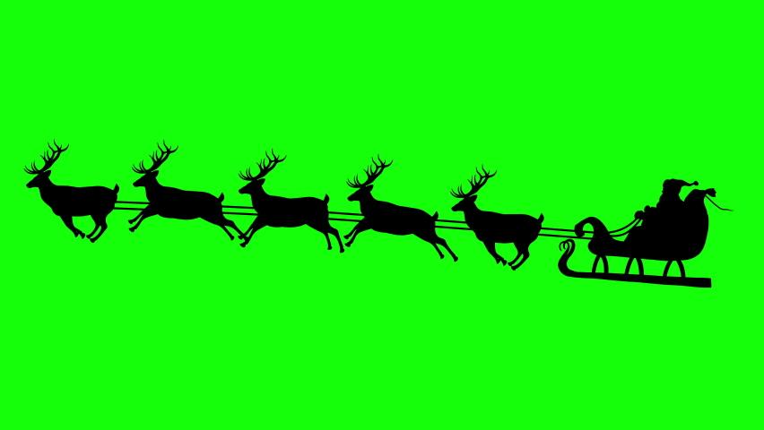 Animated Silhouette Santa's Sleigh with Rudolf on Green Screen