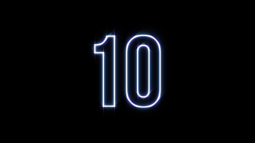 4K Video Countdown. NEON Style for Editor. 10 to 0 animation with glowing edges on black background.  Royalty-Free Stock Footage #1060891390