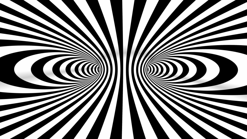 Abstract black and white three dimensional geometrical wormhole motion graphics. Striped optical illusion. Black and white optical illusion tunnel. Surrealism lines moving. 4k Seamless loop.