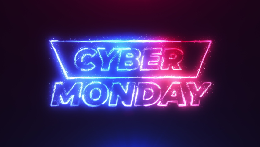 Cyber Monday red blue streak neon particles bokeh background resolution concept.