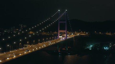 Oct 2020 : Hong Kong ,China ,Asia : Aerial view of Tsing Ma Bridge