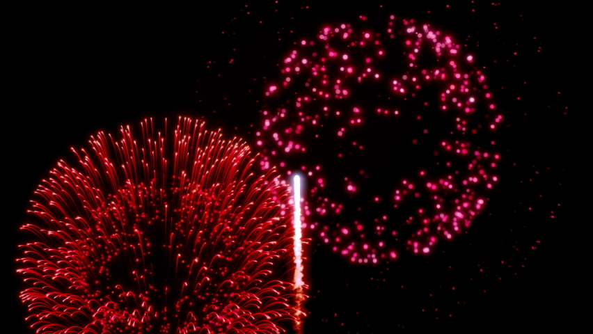 Animation of red fireworks. Looping animation. | Shutterstock HD Video #1060902073