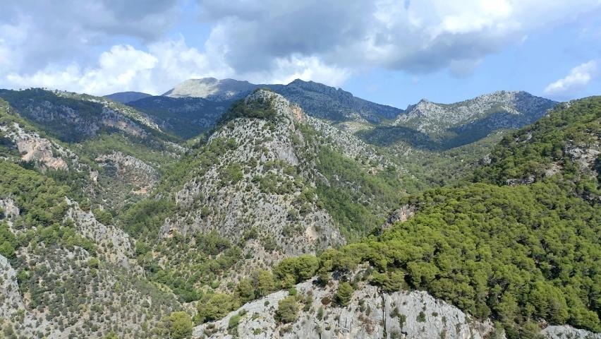 Aerial view of Tramuntana Mountains, Mallorca, Balearic Islands, Spain   Shutterstock HD Video #1060909408