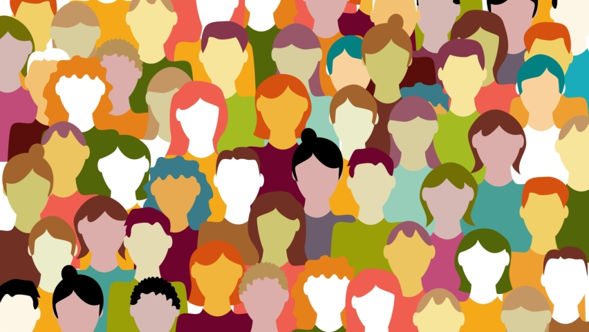 Crowd. Workers group, people in parade or in protest. Flat style. Animated background. Social community pattern of diverse people group in modern style