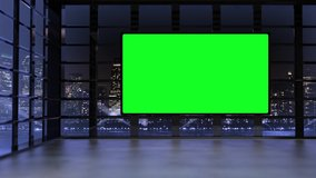 3D virtual TV studio with panoramic city skyline view at night with green screen and floodlights