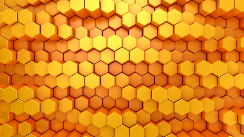 Hexagons Form A Wave. Abstract motion, loop, 4 in 1, 3d rendering, 4k resolution