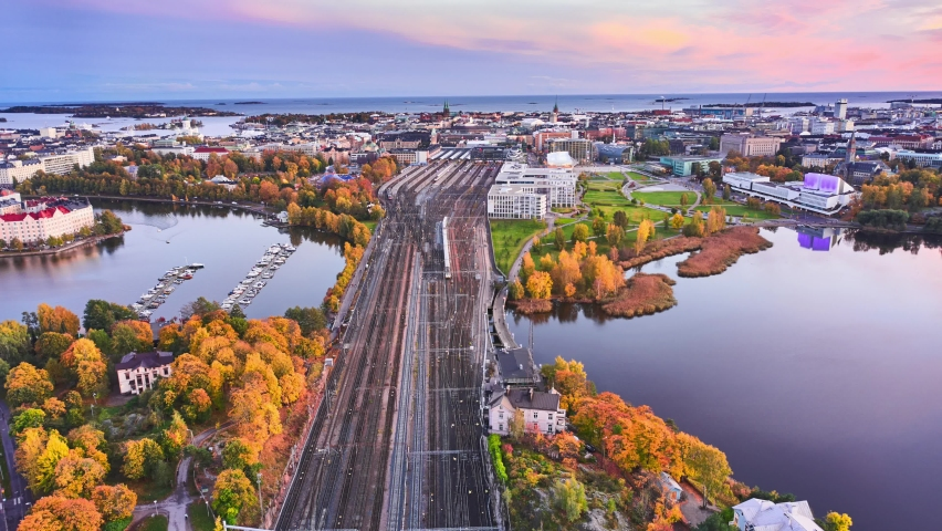 Aerial view of the railway in the center of Helsinki in Autumn evening. Amazing aerial hyperlapse video of Central Helsinki, Finland.