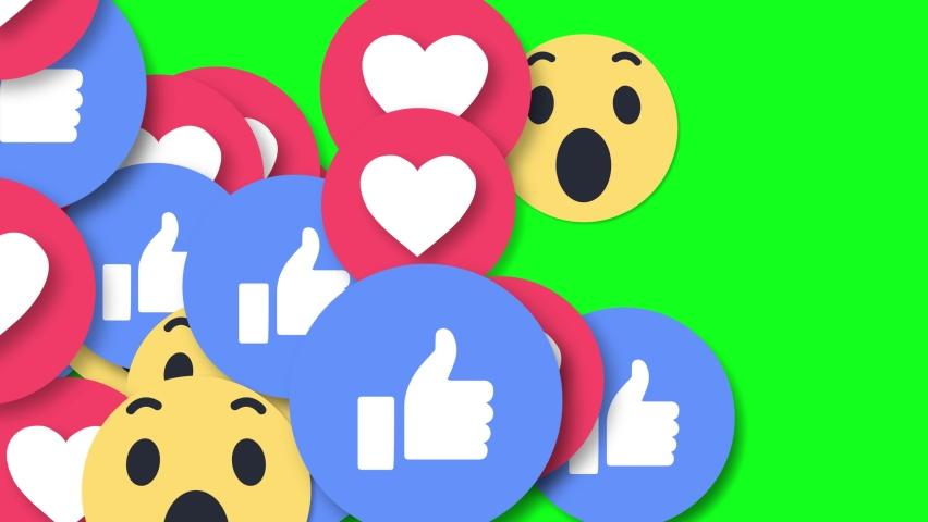 Falling Social Media EMOJI Social Network 4K 3D Green Screen Loop Animation. Love, Social Media, Emoji, Love, Web, App, Like button, Love, React, emotion, Reaction, concept.