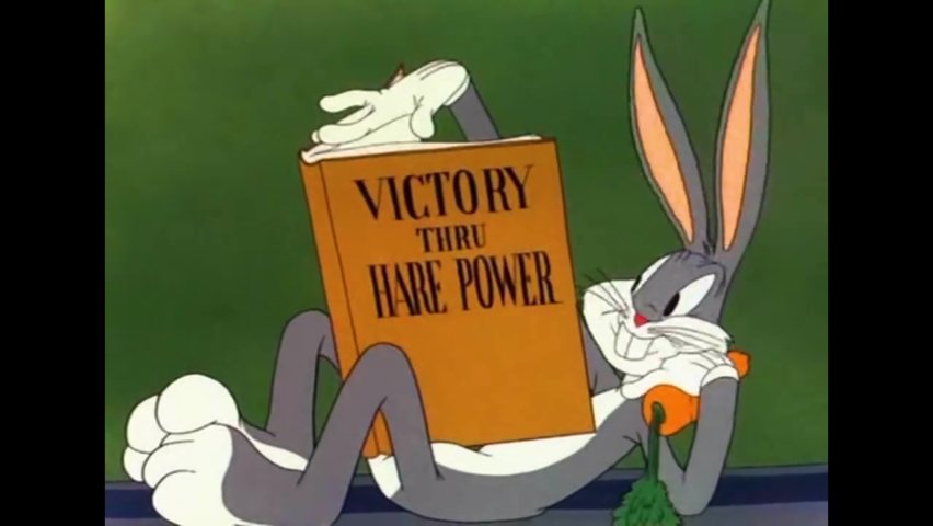 CIRCA 1943 - In this animated film, a gremlin almost tricks Bugs Bunny into blowing up a bomb on an air base.